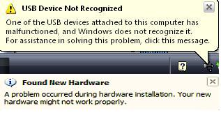 USB Unknown Device Popups